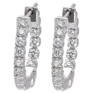 Jewelry - Women Hoop earrings 4.80 carats round cut diamonds